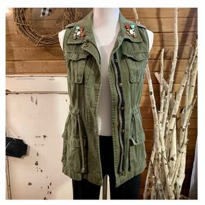 Decree army green jeweled zip up vest